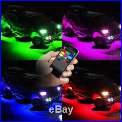 16 Pods RGB LED Multi-Color Offroad Rock Lights Strobe Wireless Bluetooth Trucks