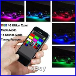 16 RGB LED Rock Light Offroad Wireless Bluetooth Music Controller Under-Carriage