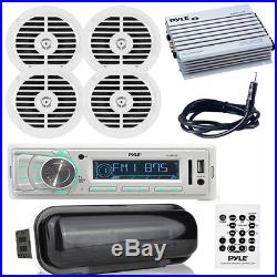 200W Marine Boat MP3 USB AM/FM Radio (4) Speakers & 400W Amp With Cover, Antenna