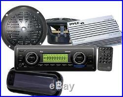 200W New Marine Boat USB MP3 AM FM WB Stereo /Cover 2 4 Speakers + 200 Watt Amp