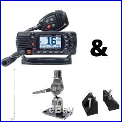 25W VHF Marine Boat Radio Class D DSC/NOAA Black Mounting kit 8' VHF Antenna