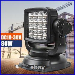 360° LED Search Light Marine Boat Search Spot Light+Wireless Remote Control 80W
