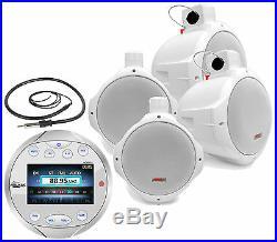 4 Marine 8 Wake Board Speakers, Lanzar Silver Bluetooth AM FM Boat Radio/Antenna