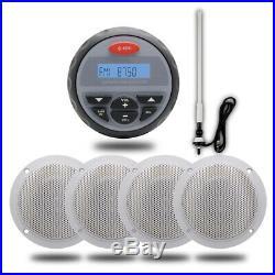 4 inch Waterproof Marine Audio+4PCs 4 Boat Golf cart Speaker+ Radio Aerial
