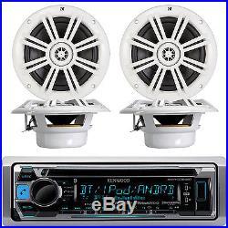 4x Kicker 6.5 Marine Boat Speaker Set, Kenwood Bluetooth USB AUX Stereo Radio
