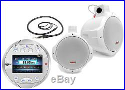 8 Marine Wake Board Speakers, Silver Lanzar Bluetooth AM FM Boat Radio & Antenna