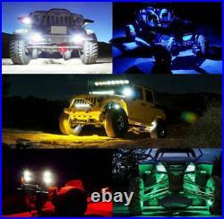 8x Pod RGB LED Rock Light Rocklights Offroad Wireless Bluetooth Music Controller