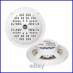 Black Marine 5.25 and 3.5 Speaker Set, Antenna, Pyle White Bluetooth Boat Radio