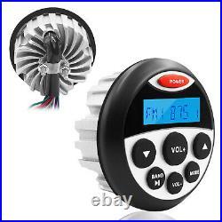 Bluetooth Marine Audio System Kit Boat Radio + 2 Pair Waterproof Stereo Speakers