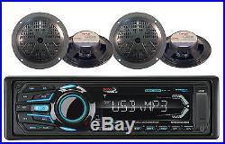 Bluetooth SD USB iPod AM FM Marine Boss Radio & 4 Black 5.25 100W Boat Speakers