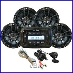 Boat Marine Stereo Radio with 4 INF622 Speakers Aux Port Bluetooth USB Waterproof
