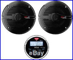 Boss 3 Gauge Marine MP3/Radio Receiver Bluetooth ATV Boat & 6.5 Speakers