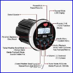 Boss Audio MGR350B Gauge Style MP3/CD/AM/FM Bluetooth Marine Boat Radio Stereo