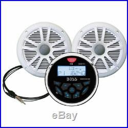 Boss Boat Marine Radio Stereo with Antenna 2 6.5 Inch Speakers Bluetooth Aux USB