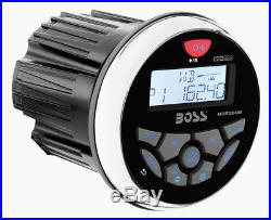 Boss MGR350B 3 Gauge Marine MP3/Radio Receiver Bluetooth ATV Boat+6.5 Speakers