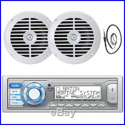 Clarion In Dash Marine Boat Yacht iPod iPhone Radio Receiver + 2 6.5 Speakers