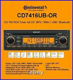 Continental RADIO USB MP3 WMA BLUETOOTH 12V CD7416UB-OR WITH WIRING HARNESS BOAT