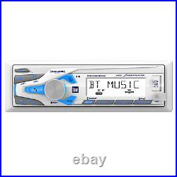 Dual MXD340 Bluetooth AM FM Radio Stereo, 4x 6.5 White Boat Speakers Package