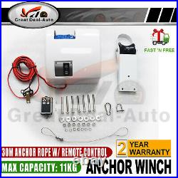 Electric Anchor Winch 30M Rope MAX 11KG For Boat 12V Wireless For Saltwater