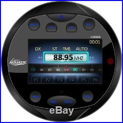 Guage Style Boat Bluetooth Black Radio, 4x Black Marine 6.5 Speakers, Antenna