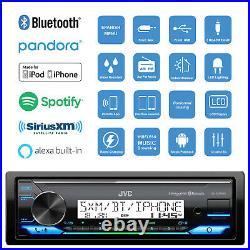 JVC KD-X37MBS Marine Bluetooth AUX USB Radio Receiver, 2x 4 Black Boat Speakers