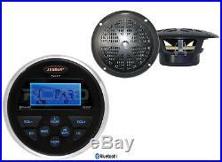 Jensen Marine USB Bluetooth AUX Radio, 2 Black 4 Marine Boat 100W Speaker Set