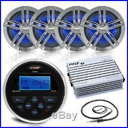 Jenson Marine Bluetooth Radio Stereo 4 Enrock Boat Speakers & 400W Amp +Antenna