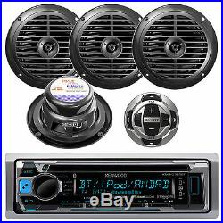 KMRD356 Marine Boat USB iPod iPhone Pandora Stereo With Wired Remote + 4 Speakers