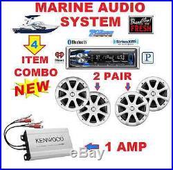 Kenwood Marine Boat Bt Usb Aux Mp3 Radio + 4 X Kicker Marine Speakers + 400w Amp