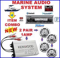 Kenwood Marine Boat Bt Usb Aux Mp3 Radio + 4 X Marine Speakers + 400w Amp