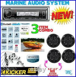 Kenwood Marine Boat Kmr-322bt Radio + (2) Pairs Kicker Marine Bkm604b 6.5' Km604