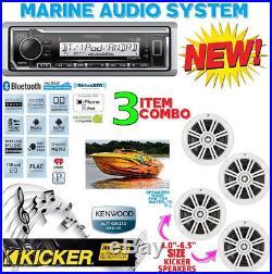 Kenwood Marine Boat Kmr-322bt Radio + (2) Pairs Kicker Marine Bkm604w 6.5' Km604