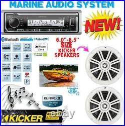 Kenwood Marine Boat Kmr-325bt Radio + (1) Pair Kicker Marine Speakers 6.5' Km604