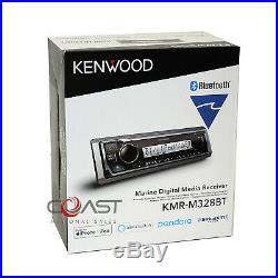 Kenwood USB BT Sirius Alexa Marine Boat Radio Receiver w LCD Remote KMR-M328BT
