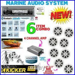Kmr-m322bt Marine Boat Usb Aux Mp3 Radio + 4 X Kicker Marine Km604w + 600w Amp