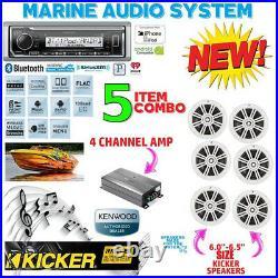 Kmr-m322bt Marine Boat Usb Aux Mp3 Radio + 6 X Kicker Marine Km604w + 600w Amp