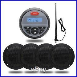 Marine Audio Gauge Boat Bluetooth Stereo System Radio+4 Boat Speakers+ Anenna