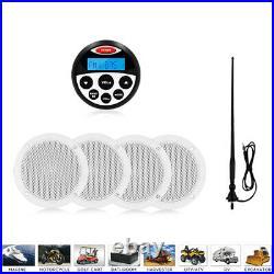 Marine Audio Receiver Boat Stereo Radio Receiver Kit + 4in Speakers + Antenna