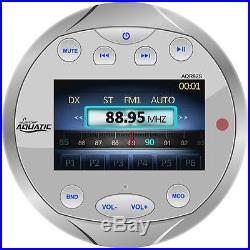 Marine Bluetooth AM FM Round Radio, Antenna, Amplifier, 8 Wake Board Boat Speakers