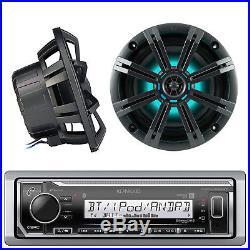 Marine Bluetooth Radio, 2x Kicker 6.5 LED Boat Speakers