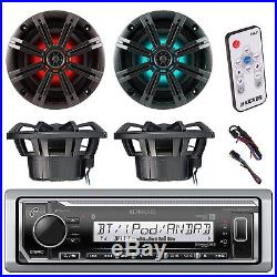 Marine Bluetooth Radio, LED Controller, 4x Kicker 6.5 LED Boat Speakers