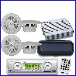 Marine Boat Yacht MP3 Media Receiver WB Radio /4 Speakers 400Watt Amp and Cover