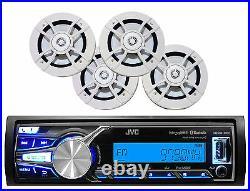 Marine JVC Bluetooth iPod USB AUX Pandora Radio, Boat Kenwood 6.5 White Speakers