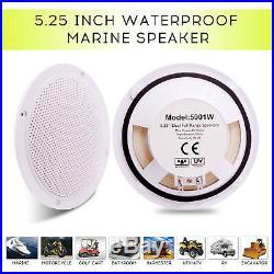 Marine Radio Square Speaker 5.25 inch White Marine Bluetooth Stereo Boat Speaker