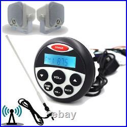 Marine Stereo Audio Bluetooth Waterproof Boat FM AM Radio + 4 Speakers+ Antenna