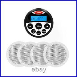Marine Stereo Bluetooth Receiver Boat Radio + 2 Pair Waterproof Outdoor Speakers