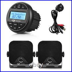 Marine Stereo Blutooth Receiver Boat FM AM Radio + Box Speakers 1Pair +USB Cable