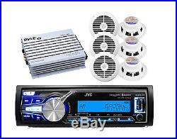 New JVC Marine Boat Bluetooth USB AUX Input Radio, 6 White 6.5 Speakers, 400W Amp