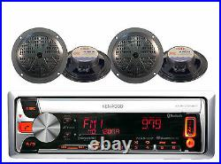 New Marine Boat Bluetooth Pandora CD MP3 USB AM/FM Radio Receiver 4 Speakers Pkg