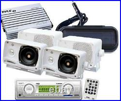 New Marine Boat MP3 Player AUX Radio /Cover + 4 White Speakers 400W Amp +Antenna